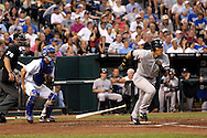 July 26, 2007 - Kansas City, MO..New York Yankees left fielder singles to right field against the Kansas City Royals at Kauffman Stadium in Kansas City, Missouri on July 26, 2007...MLB:  The Royals defeated the Yankees 7-0.  .Photo by Peter G. Aiken/Cal Sport Media