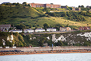 The Western Heights of Dover fortification in the morning sunlight stands at the top of the West Cliffs, with residential buildings of Aycliffe below with Shakespeare beach at the bottom.  (photo by Andrew Aitchison / In pictures via Getty Images)
