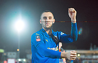 Football - 2018 / 2019 Emirates FA Cup - Fourth Round: AFC Wimbledon vs. West Ham United<br /> <br /> AFC Wimbledon's Dylan Connolly celebrates at the final whistle after their 4-2 victory, at Cherry Red Records Stadium (Kingsmeadow).<br /> <br /> COLORSPORT/ASHLEY WESTERN