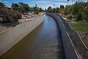 Channelized portion of the Los Angeles River, Van Nuys, California, USA