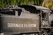 Coal car on the Durango & Silverton Narrow Gauge Railroad, Silverton, Colorado USA