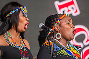 The Langa methodist Church Choir from South Africa play the Pyramid Stage to a small, reflective but generally appreciative crowd - The 2019 Glastonbury Festival, Worthy Farm, Glastonbury.