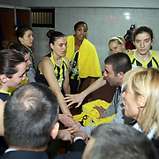 Fenerbahce's players celebrate victory during their EuroLeague Women Basketball League game 2 match Galatasaray MP between Fenerbahce at the Abdi Ipekci Arena in Istanbul at Turkey on Friday, February, 05, 2011. Photo TURKPIX