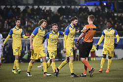 February 17, 2018 - Leuven, BELGIUM - Beerschot's Jimmy De Jonghe, talks with, the referee and during a soccer game between OH Leuven and KFCO Beerschot Wilrijk, in Heverlee, Leuven, Saturday 17 February 2018, on day 27 of the division 1B Proximus League competition of the Belgian soccer championship. BELGA PHOTO JOHN THYS (Credit Image: © John Thys/Belga via ZUMA Press)