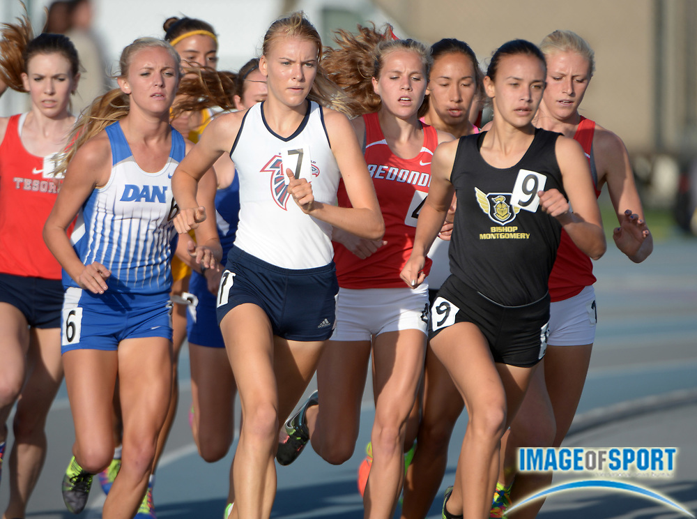 May 24, 2013; Norwalk, CA, USA; Danielle Shanahan of Bishop Montgomery and Megan Huebner of La Quinta lead the girls 1,600m in the 2013 CIF Southern Section Masters Meet at Cerritos College.