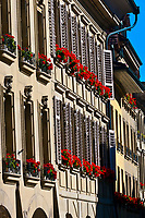 Flower window boxes, medieval city center of Bern, Canton Bern, Switzerland