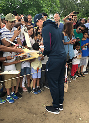 England's Joe Root signs autographs at Merchant TaylorÕs School, Rickmansworth.