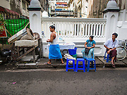 03 NOVEMBER 2014 - YANGON, MYANMAR: A sidewalk bakery that makes nan, or Indian style bread, in Yangon, Myanmar.     PHOTO BY JACK KURTZ