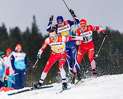 01.03.2019, Seefeld, AUT, FIS Weltmeisterschaften Ski Nordisch, Seefeld 2019, Langlauf, Herren, 4x10 km Staffel, im Bild v.l. Sjur Roethe (NOR), Matti Heikkinen (FIN), Alexander Bolshunov (RUS) // f.l. Sjur Roethe of Norway Matti Heikkinen of Finland and Alexander Bolshunov of Russian Federation during the men's cross country 4x10 km relay competition of FIS Nordic Ski World Championships 2019. Seefeld, Austria on 2019/03/01. EXPA Pictures © 2019, PhotoCredit: EXPA/ Stefan Adelsberger