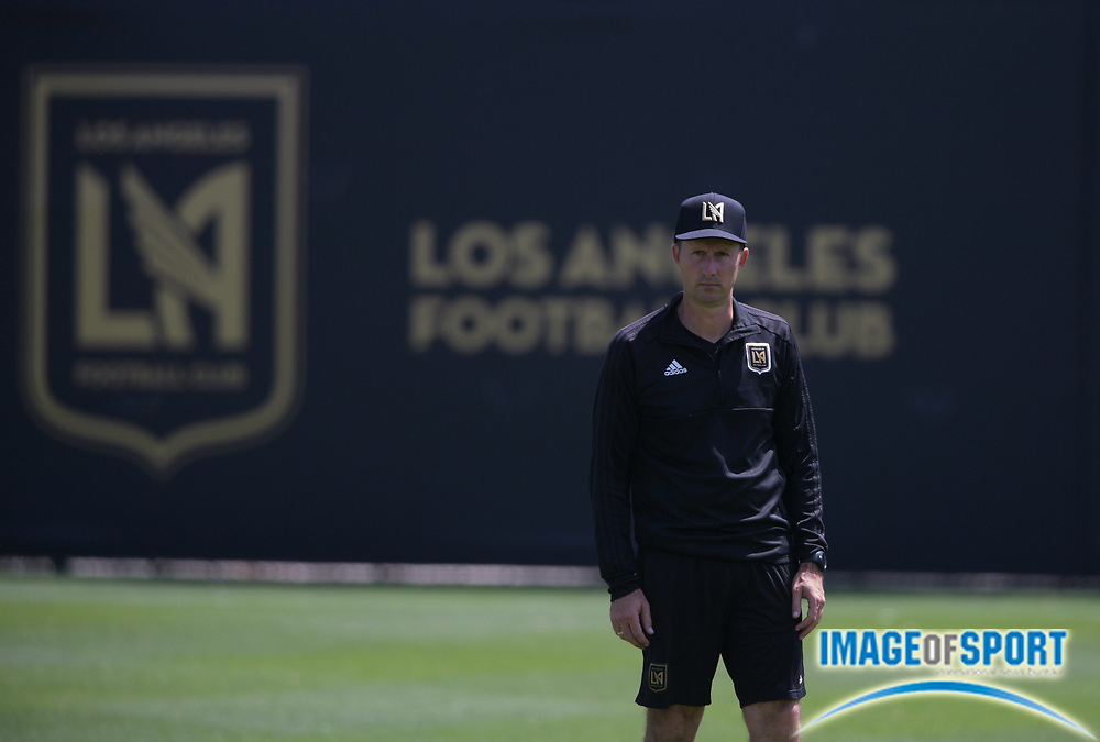 Apr 10, 2018; Los Angeles, CA, USA; LAFC director of soccer operations Mike Sorber at practice at Cal State LA.