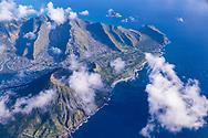 Aerial photograph of Koko Crater & Makapuu Point, coastline of East Honolulu, Oahu, Hawaii