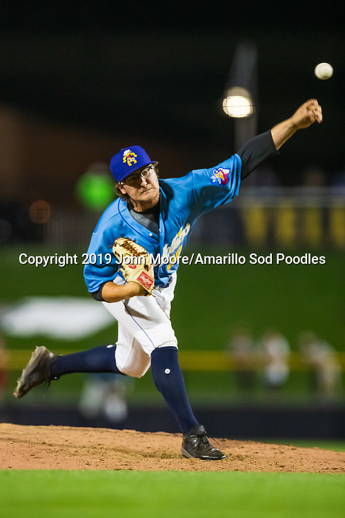 Amarillo Sod Poodles pitcher Sam Williams (20) pitches against the Tulsa Drillers during the Texas League Championship on Tuesday, Sept. 10, 2019, at HODGETOWN in Amarillo, Texas. [Photo by John Moore/Amarillo Sod Poodles]