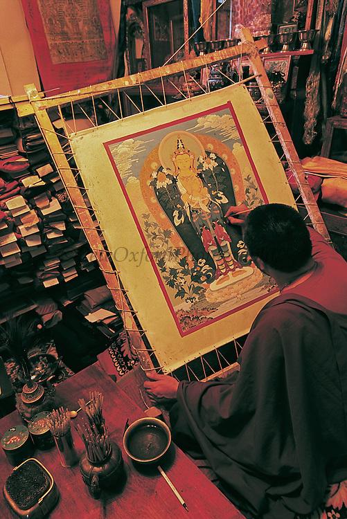 G. Purevbat - Buddhist Artist<br /> and Monk painting Thangka<br /> Mongolian Center of Buddhist Art<br /> Ulaanbaatar<br /> Mongolia