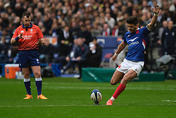 February 2, 2020, Saint Denis, Seine Saint Denis, France: The Fly-Half of French Team ROMAIN NTAMACK in action during the Guinness Six Nations Rugby tournament between France and  England at the Stade de France - St Denis - France.. France won 24-17 (Credit Image: © Pierre Stevenin/ZUMA Wire)
