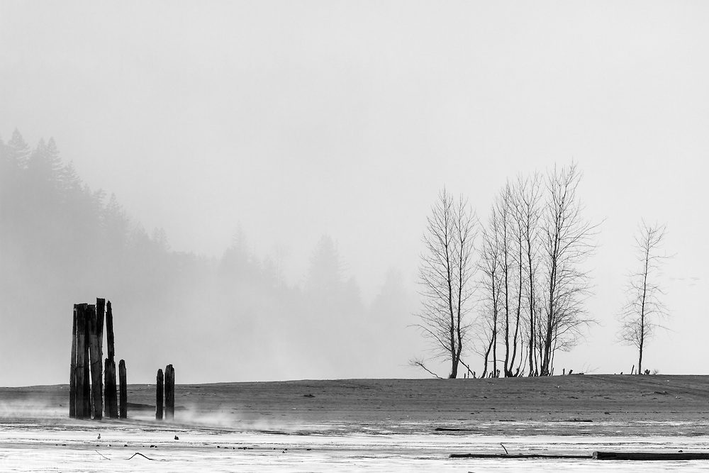 Wind blows dust and dirt into the air over Harrison Bay near Kilby Provincial Park, British Columbia, Canada