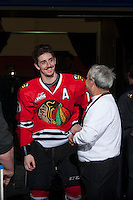 KELOWNA, CANADA - APRIL 25: Nicolas Petan #19 of the Portland Winterhawks is all smiles after being selected the Western Conference MVP on April 25, 2014 during Game 5 of the third round of WHL Playoffs at Prospera Place in Kelowna, British Columbia, Canada. The Portland Winterhawks won 7 - 3 and took the Western Conference Championship for the fourth year in a row earning them a place in the WHL final.  (Photo by Marissa Baecker/Getty Images)  *** Local Caption *** Nicolas Petan;