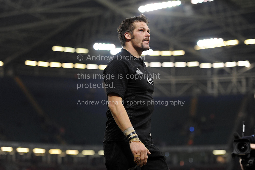 Richie McCaw, the New Zealand capt walks off at end of match.  Dove Men Series 2014, Wales v New Zealand , autumn international rugby match at the Millennium Stadium in Cardiff, South Wales on Saturday 22nd November 2014<br /> pic by Andrew Orchard, Andrew Orchard sports photography.