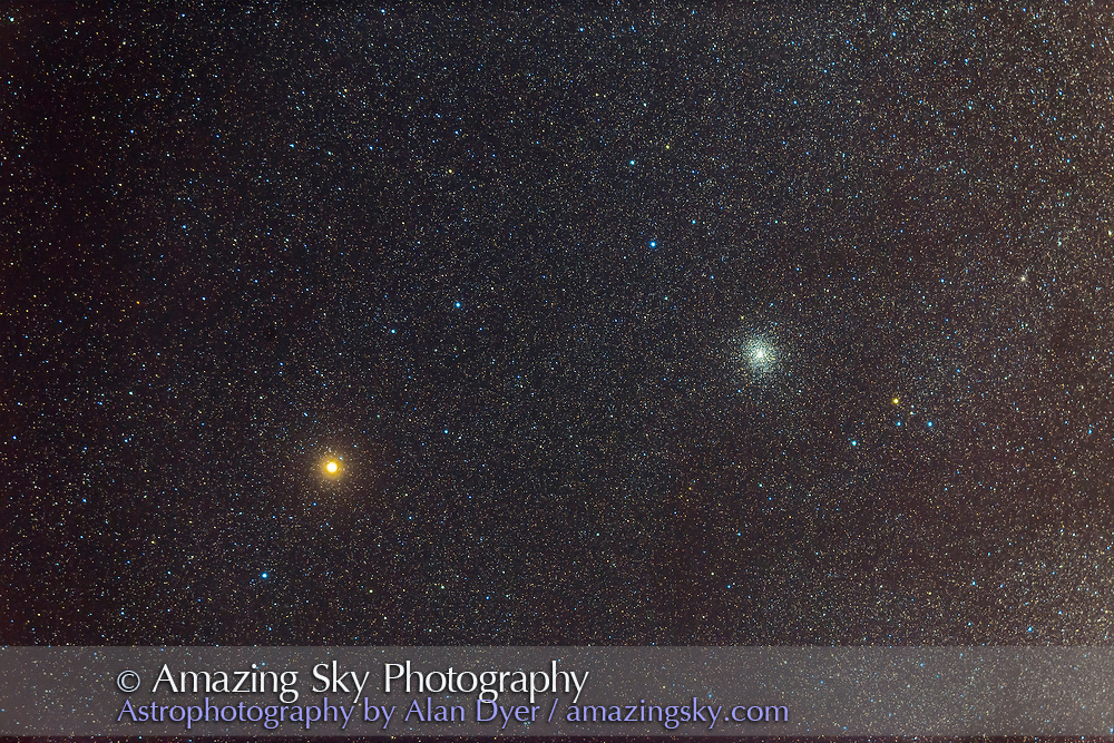 Mars (left) near the globular cluster M22 in Sagittarius, November 8, 2014. This is a stack of 8 x 1.5 and 2 minute exposures, with the Canon 6D and the TMB 92mm refractor at f/4.4. Taken from my winter home near Silver City, New Mexico.