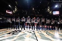 United States´s players listen to the national anthem before during FIBA Basketball World Cup Spain 2014 final match between United States and Serbia at `Palacio de los deportes´ stadium in Madrid, Spain. September 14, 2014. (ALTERPHOTOSVictor Blanco)