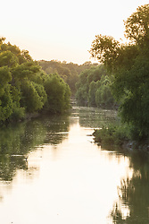 Bend in Trinity River at sunset south of Loop 12, Great Trinity Forest, Dallas, Texas, USA