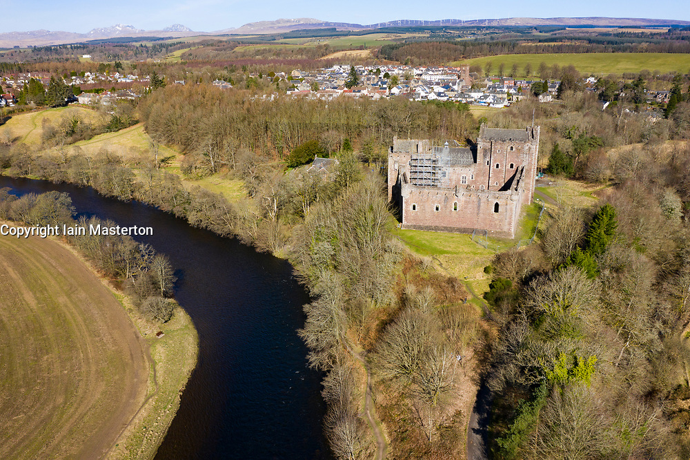 Aerial view of Doune Castle above River Teith near Doune, Stirling District, Central, Scotland, UK