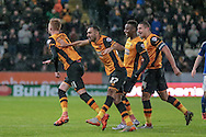Hull celebrate their second goal of the game during the Sky Bet Championship match between Hull City and Cardiff City at the KC Stadium, Kingston upon Hull, England on 13 January 2016. Photo by Mark P Doherty.