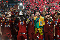 ISTANBUL, TURKEY - AUGUST 14: Liverpool players celebrate with the trophy during the UEFA Super Cup match between Liverpool and Chelsea at Vodafone Park on August 14, 2019 in Istanbul, Turkey. (Photo by MB Media/Getty Images)