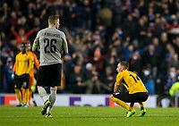 Football - 2019 / 2020 UEFA Europa League - Group G: Rangers vs. BSC Young Boys<br /> <br /> Young Boys react at full time after being knocked out of the Europa League, at Ibrox Stadium.<br /> <br /> COLORSPORT/BRUCE WHITE