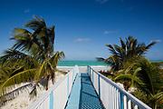 Aquamarine ultramarine deep blue waters and beach on Cayo Coco island and resorts, Ciego de Avila province, Cuba.