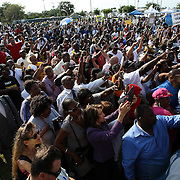 Supporters show their support as the Reverand Al Sharpton speaks during a rally for the shooting of Trayvon Martin on Thursday,March 22, 2012 at Fort Mellon Park in Sanford, Florida. (AP Photo/Alex Menendez) Trayvon Martin rally in Sanford, Florida.
