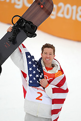 February 14, 2018 - PyeongChang, South Korea - SHAUN WHITE of USA celebrates winning a gold medal in Snowboard Men's Halfpipe Final at Phoenix Snow Park during the 2018 Pyeongchang Winter Olympic Games. (Credit Image: © Scott Mc Kiernan via ZUMA Wire)