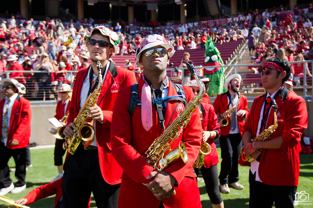 Members of the Stanford University band dressed up to perform at halftime during the 2011 football season against San Jose State in Palo Alto, Calif., Sept. 3, 2011.  The Cardinals proved to be too much for the Spartans to handle, winning 57-3. (Spartan Daily/Stan Olszewski)