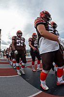 KELOWNA, BC - AUGUST 17:  Bear Akachuk #55 and JJ HEATON #62 of Okanagan Sun walk to the field against the Westshore Rebels at the Apple Bowl on August 17, 2019 in Kelowna, Canada. (Photo by Marissa Baecker/Shoot the Breeze)