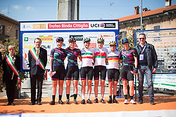 The Canyon//SRAM Cycling Team line up on the start podium before rolling out for the Trofeo Alfredo Binda - a 123.3km road race from Gavirate to Cittiglio on March 20, 2016 in Varese, Italy.