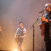 CARL BROEMEL, TOM BLANKENSHIP, JIM JAMES of My Morning Jacket perform at Merriweather Post Pavilion in Columbia, MD. (Photo by Kyle Gustafson)