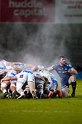 Sale Sharks flanker Cameron Neild on the side of a steamy scrum during a Gallagher Premiership Round 11 Rugby Union match, Friday, Feb 26, 2021, in Eccles, United Kingdom. (Steve Flynn/Image of Sport)