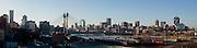 A stitched image made up of multiple images. Panoramic image of Nelson Mandela bridge and Johannesburg city CBD. Image by Greg Beadle