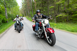 Ola Petersson riding his 2012 Harley-Davidson Switchback on a club ride out from the club house in Norrtälje after their annual Custom Bike Show. Sweden. Sunday, June 2, 2019. Photography ©2019 Michael Lichter.