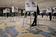 03 NOVEMBER 2020 - WEST DES MOINES, IOWA: oVoting at the West Des Moines Marriott on Election Day in West Des Moines. Voter turnout was heavy at most polling places in the Des Moines metro area.       PHOTO BY JACK KURTZ
