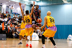Fred Thomas of Bristol Flyers takes on Jordan Spencer of London Lions - Photo mandatory by-line: Robbie Stephenson/JMP - 10/04/2019 - BASKETBALL - UEL Sports Dock - London, England - London Lions v Bristol Flyers - British Basketball League Championship