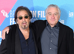 Robert De Niro and Al Pacino at The Irishman photocall, part of the BFI London Film Festival 2019, May Fair Hotel. Photo credit should read: Doug Peters/EMPICS