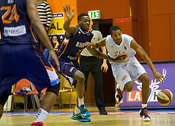 18.11.2015, Walfersamhalle, Kapfenberg, AUT, FIBA Europe Cup, ece Bulls Kapfenberg vs Le Havre, im Bild Gaylord Lobela (Le Havre), Joey Shaw (Bulls Kapfenberg) // during the FIBA Europe Cup, between ece Bulls Kapfenberg and Le Havre at the Sportscenter Walfersam, Kapfenberg, Austria on 2015/11/18, EXPA Pictures © 2015, PhotoCredit: EXPA/ Dominik Angerer