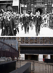 File photo dated 01/06/45 showing showing Sir Winston Churchill leaving the Houses of Parliament in London on victory day celebrations marking the end of the Second World War in Europe, now 75 years ago, and how it looked 2/5/2020.