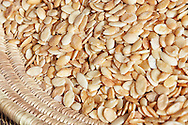 Argan kernels from the Argan tree, that is cultivated for the oil (argan oil) which is found in the fruit. The oil is rich in fatty acids and is used in cooking and cosmetics. The argan tree is an endangered species and is protected by UNESCO (United Nations Educational, Scientific and Cultural Organisation).