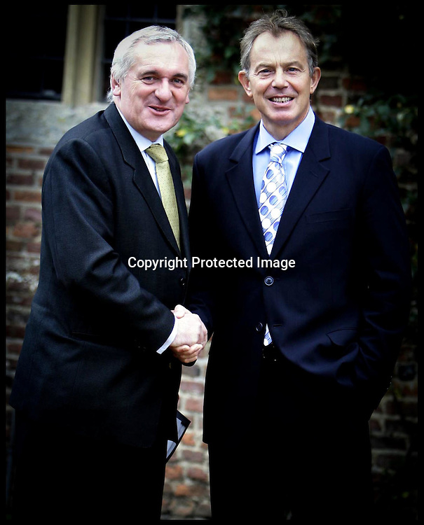 Photo call for Prime Minister Tony Blair meets Irish Premier Bertie Ahern for talks on how to push forward the Northern Ireland peace process,at  CHEQUERS:.PRESS ASSOCIATION Photo. Picture date:Friday 15th September  , 2006. Photo credit should read: Andrew Parsons/PA. .POOL