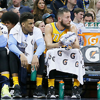 04 March 2016: Denver Nuggets center Jusuf Nurkic (23), Denver Nuggets forward Axel Toupane (6) and Denver Nuggets center Joffrey Lauvergne (77) are seen on the bench during the Brooklyn Nets 121-120 victory over the Denver Nuggets, at the Pepsi Center, Denver, Colorado, USA.