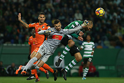 December 17, 2017 - Lisbon, Lisbon, Portugal - Portimonense's goalkeeper Ricardo Ferreira (L) and Sportings forward Bas Dost from Holland (R) during Premier League 2017/18 match between Sporting CP and Portimonense SC,.at Alvalade Stadium in Lisbon on December 17, 2017. (Credit Image: © Dpi/NurPhoto via ZUMA Press)