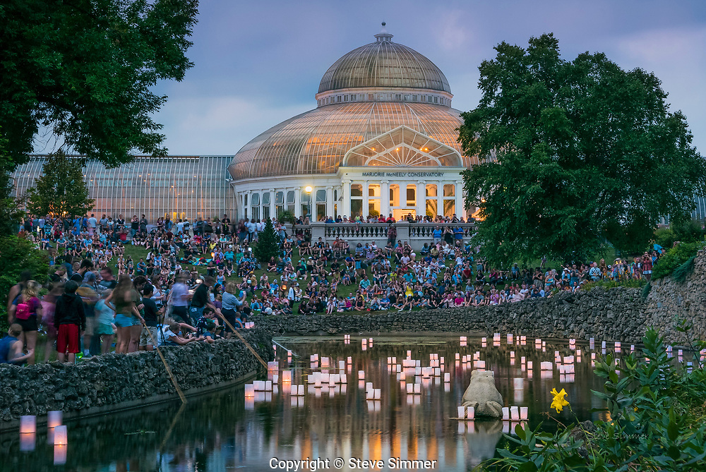 St. Paul has an active Japanese society. Every year at the Como Park Conservatory, this celebration of culture is capped with the quiet rememberence of ancestors.  Each lantern is provided by a family to honor  family members who have passed on.