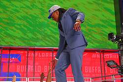 April 26, 2018 - Arlington, TX, U.S. - ARLINGTON, TX - APRIL 26:  Tremaine Edmunds walks on stage after being chosen by the Buffalo Bills with the 16th pick during the first round at the 2018 NFL Draft at AT&T Statium on April 26, 2018 at AT&T Stadium in Arlington Texas.  (Photo by Rich Graessle/Icon Sportswire) (Credit Image: © Rich Graessle/Icon SMI via ZUMA Press)