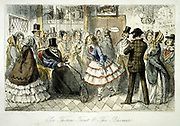 Taking the waters at Handley Spa: Sir Thomas Trout in bathchair face-to-face with Constantina Mendlove in her Bloomer outfit. John Leech illustration for R.S.Surtees 'Handley Cross', London, 1845. Coloured engraving